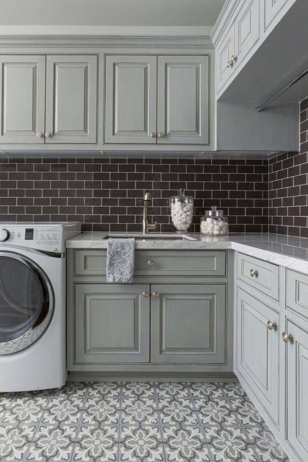 Laundry Room Design Ideas With Blue and Gray Palette Theme