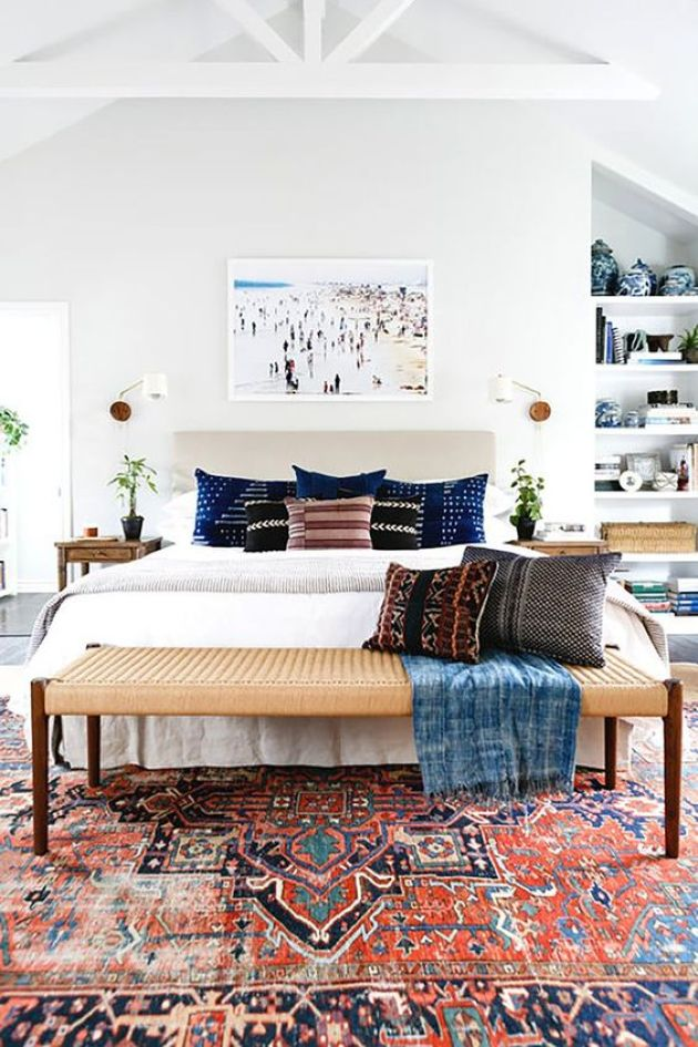 Light-Filled Eclectic Bedroom With An Upholstered Bed