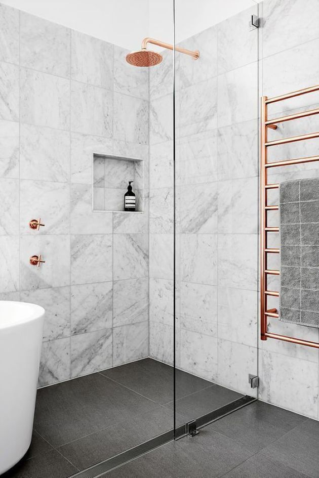 Marble Tile Small Bathroom Design With A Dark Floor And A Tub