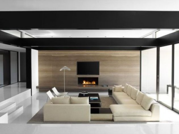 Minimalist Living Room With A Conversation Pit