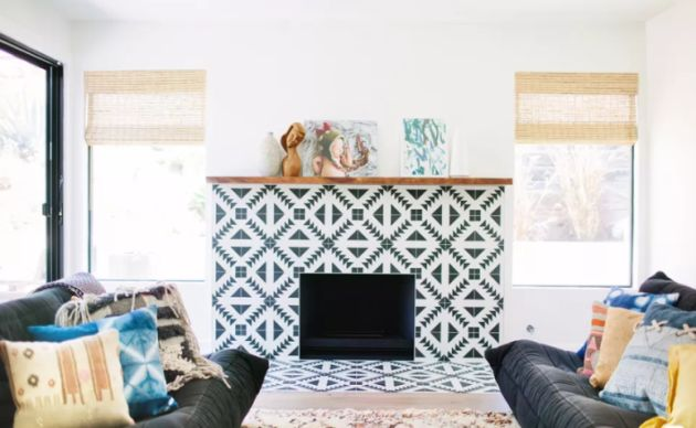 Modern Fireplace Clad With Geometric Black And White Tiles