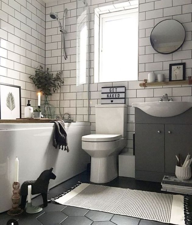 Monochromatic Small Bathroom Design With A Hex Tile Floor