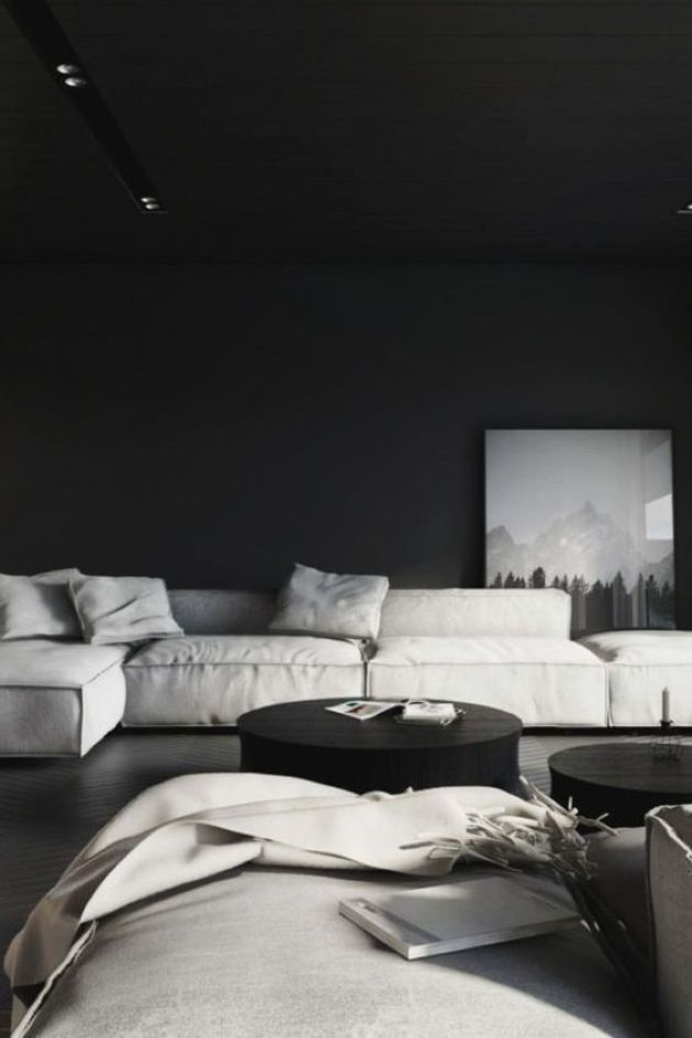 Moody Minimalist Living Room In Black And White