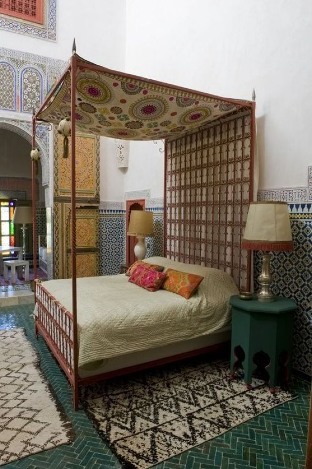 Moroccan Bedroom All Clad With Traditional Tiles Plus Rugs
