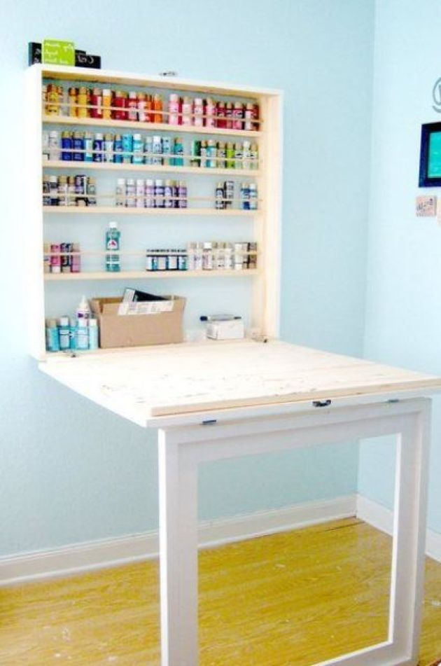 Murphy Desk In White And Light-Colored Wood With Storage Space For Paints