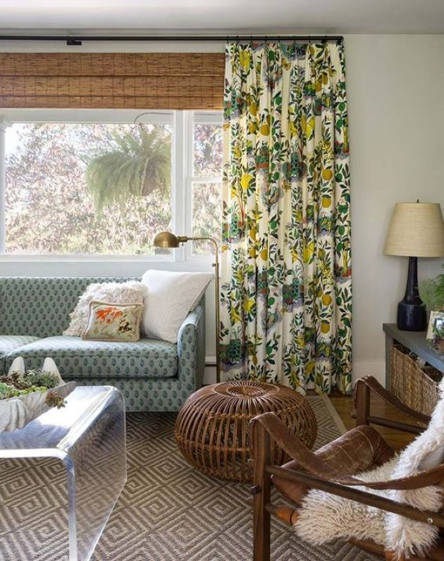 Muted Color Eclectic Living Room With Printed Curtains And Shades