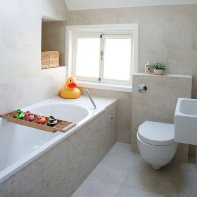 Neutral Small Contemporary Bathroom With Built-In Storage Space