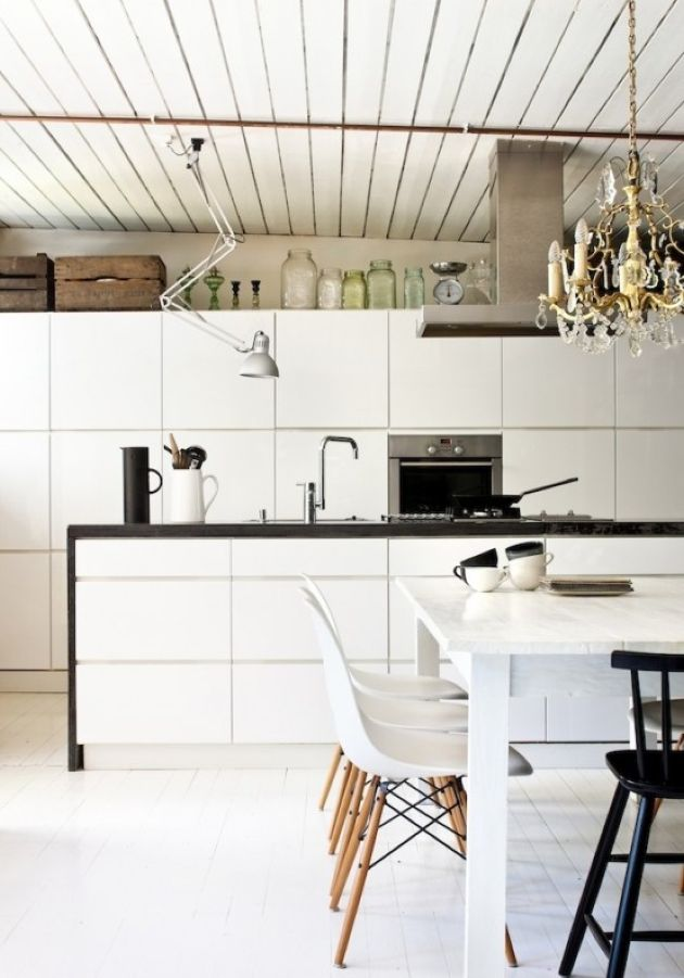 Nordic Off-White Kitchen With A Wooden Ceiling