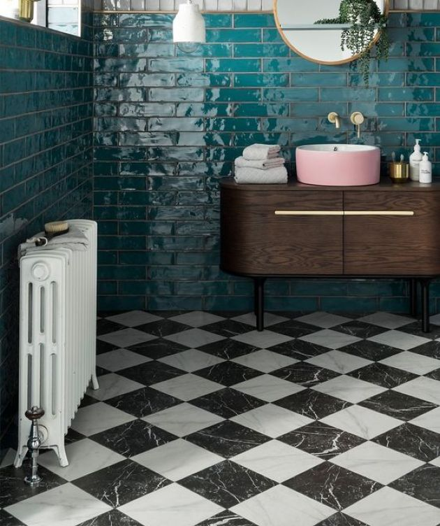 Retro Bathroom With Emerald Tiles On The Walls