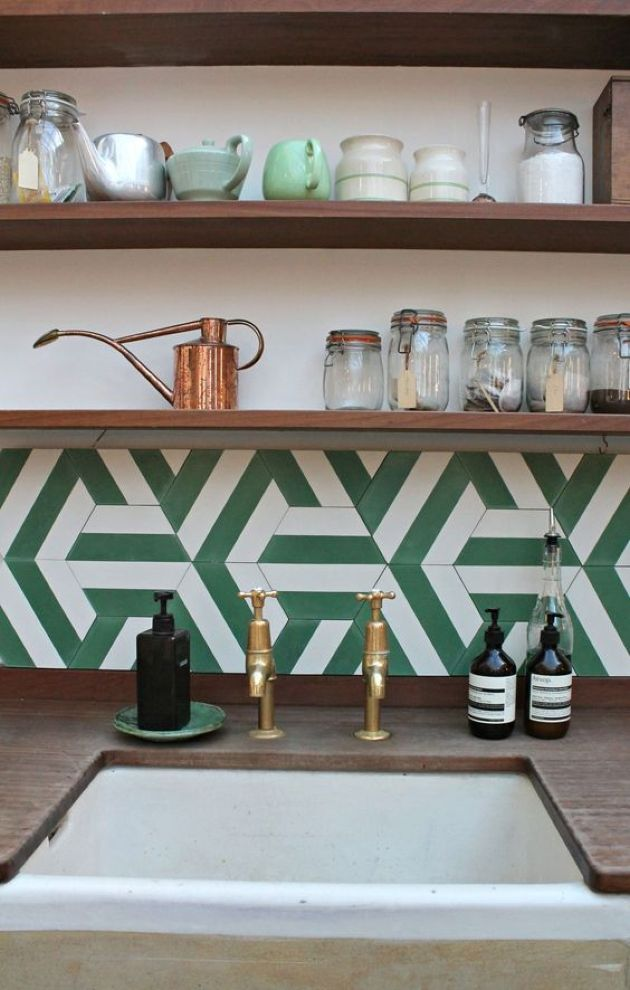 Retro-Inspired Kitchen With Green And White Geometric Tile Backsplash