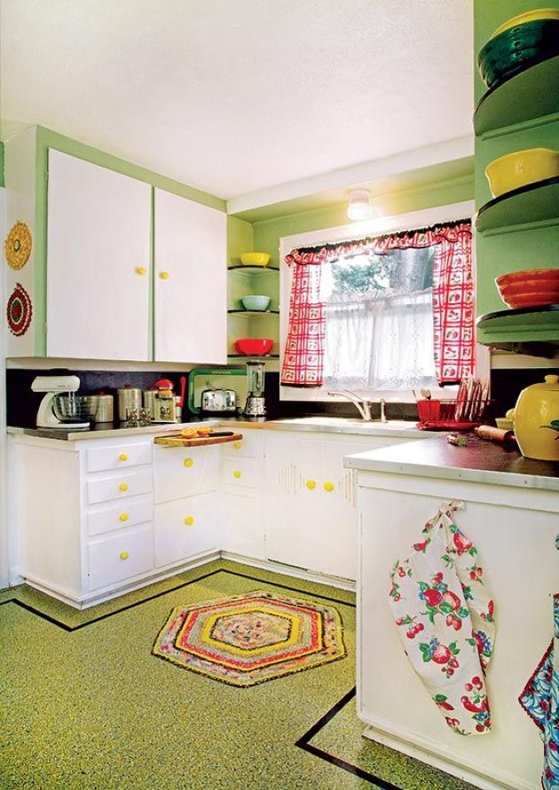Retro-Inspired Kitchen With Printed Curtains And Rugs