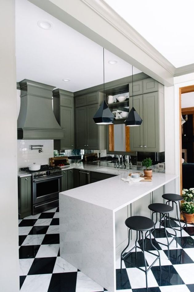 Retro Kitchen Renovation With Green Cabinets