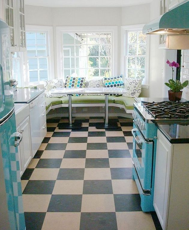Retro Kitchen With Turquoise Fridge, Hood And Cooker