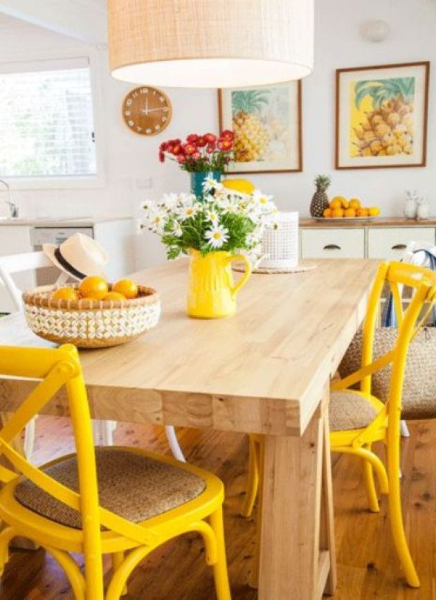 Retro Kitchen With Yellow Chairs And Colorful Artworks