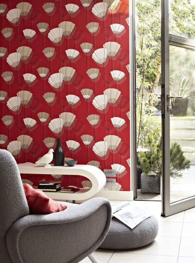 Retro Living Room With Extra Bold Red Wallpaper With An Abstract Pattern