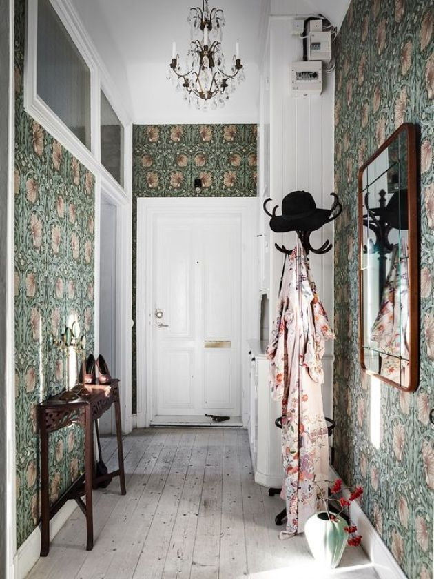 Retro Mudroom With Moody Green Floral Wallpaper