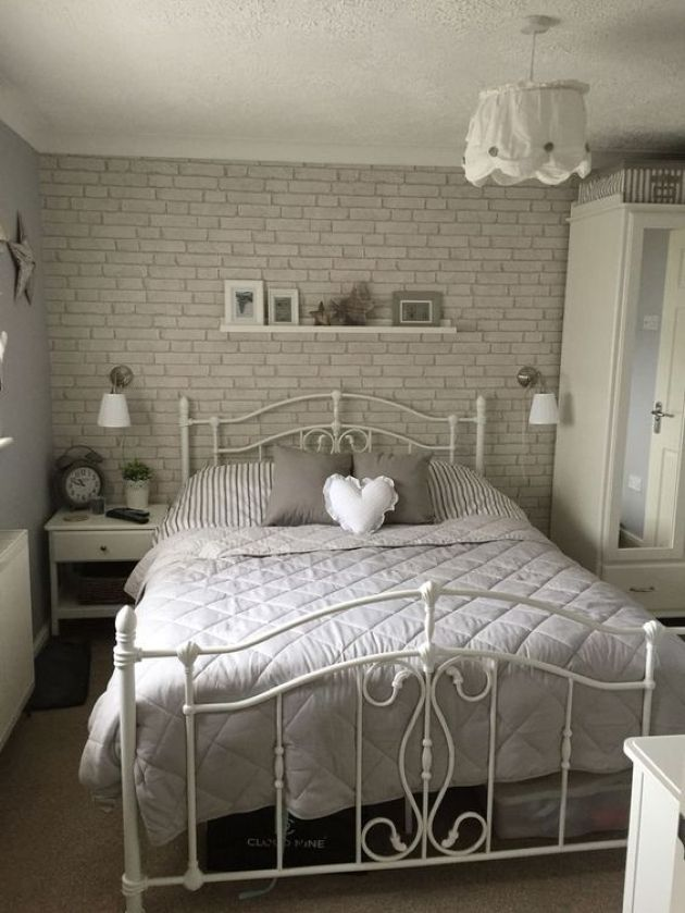 Romantic Bedroom With A Faux Grey Brick Wall