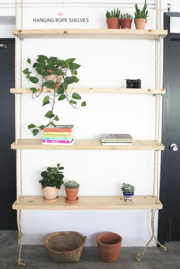 Simple Contemporary Hanging Shelving Unit With Ropes