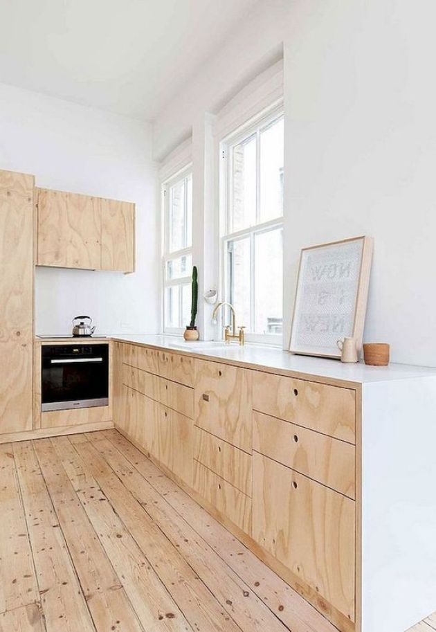 Simple Neutral Scandi Kitchen With Plywood Cabinets
