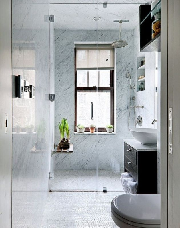 Small Bathroom Design With Blue Stone Tiles In The Shower