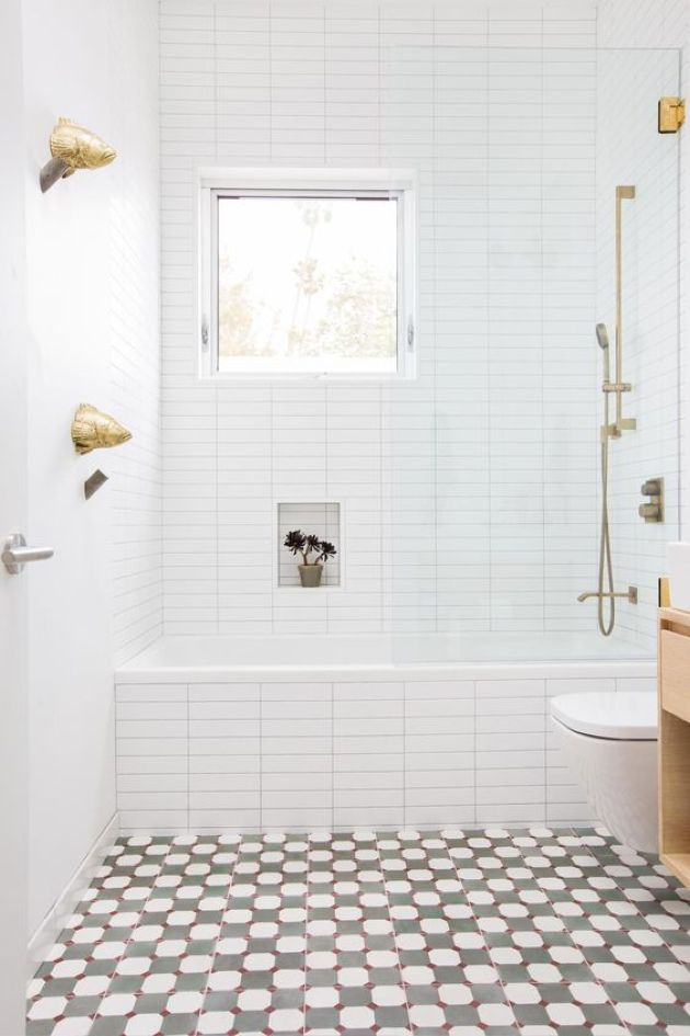 Small Bright Bathroom With A Mosaic Floor And White Tiles
