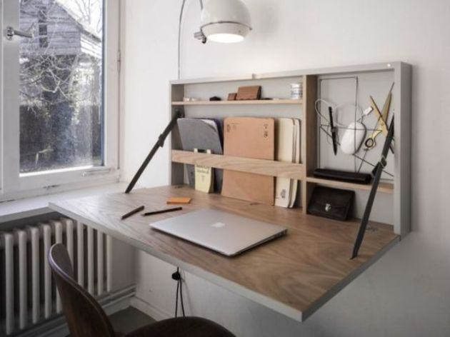 Stylish Modern Murphy Desk With A Grey Base And A Stained Plywood Desktop