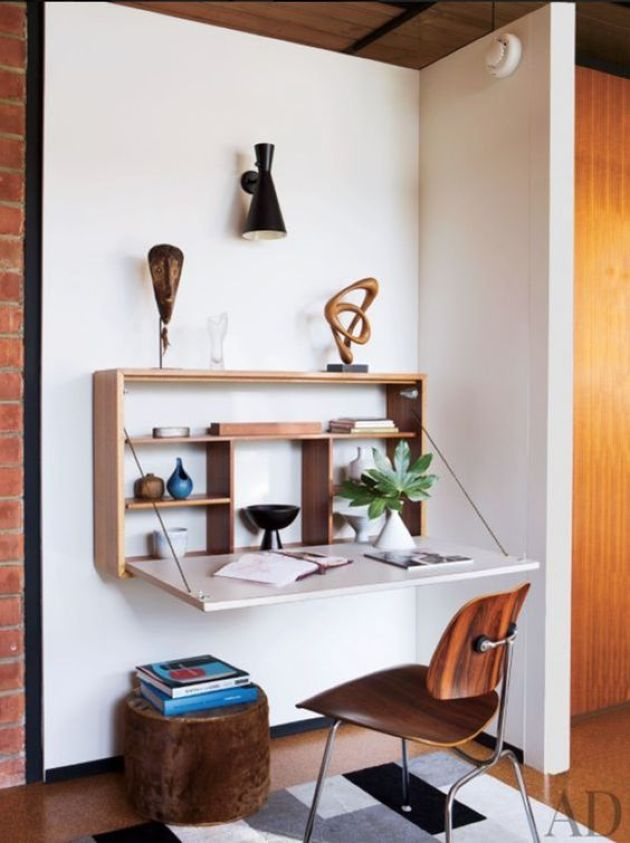 Stylish Murphy Desk With A Stained Plywood Base And A White Desktop
