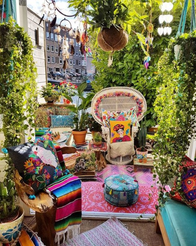 Super Colorful Boho Patio With Bright Pillows And Rugs Plus Blankets