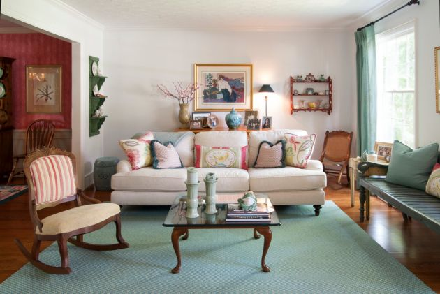 Traditional Turquoise Living Room Ideas By Adrienne DeRosa