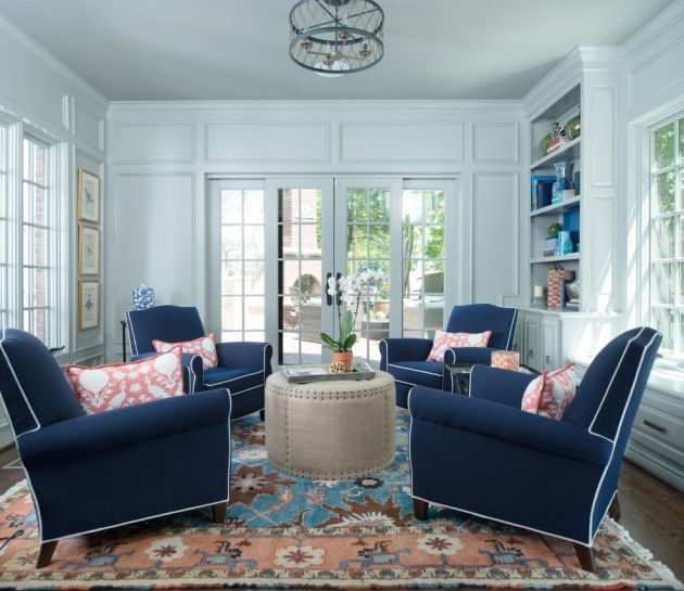 Traditional Turquoise Living Room Ideas With Navy Blue Sofa