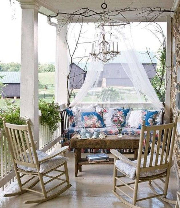Upholstered Floral Bench With A Mosquito Net