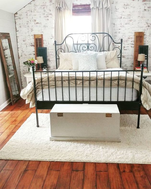 Vintage Bedroom With A Faux Whitewashed Brick Wall