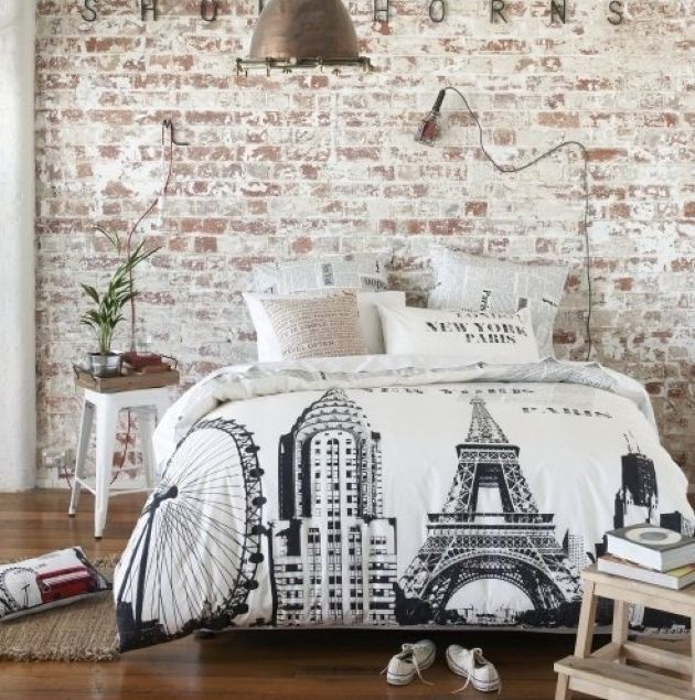 Vintage Bedroom With A Whitewashed Brick Wall