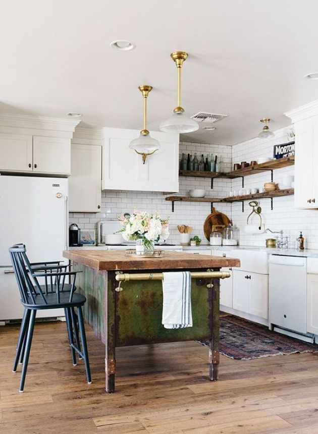 White Cabinets Paired With A Shabby Chic Wooden Kitchen Island