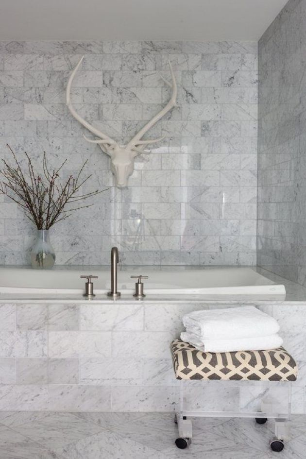 White Marble Bathroom Done With Tiles