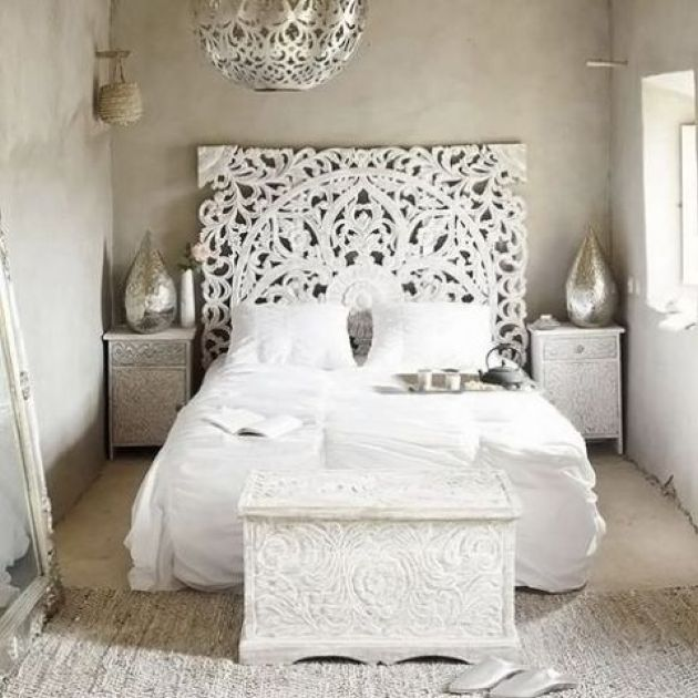 White Moroccan Bedroom With A Carved Headboard