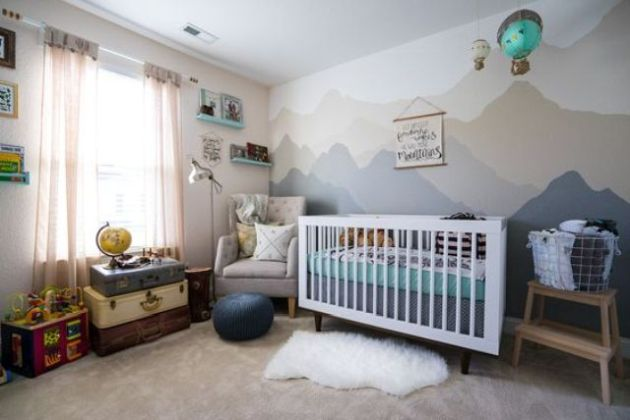 Adventure-Inspired Nursery In Grey And Green Shades