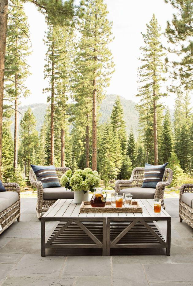 Backyard Patio Design Ideas With Contemporary Teak Chairs With Traditional Wicker