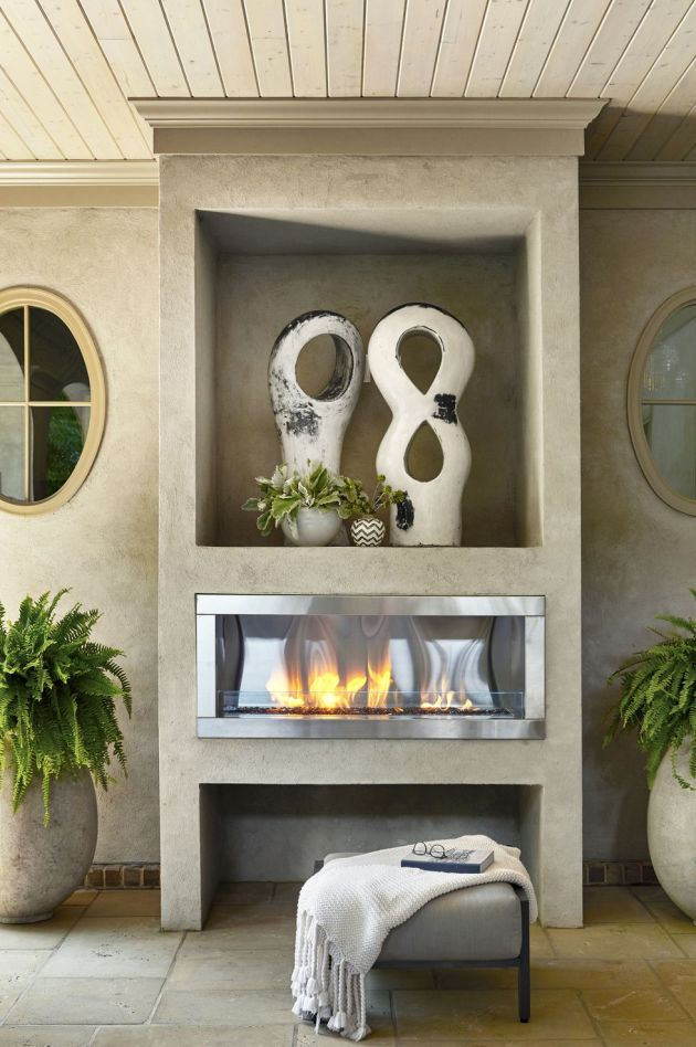 Backyard Patio Design Ideas With Gas-Powered Outdoor Fireplace