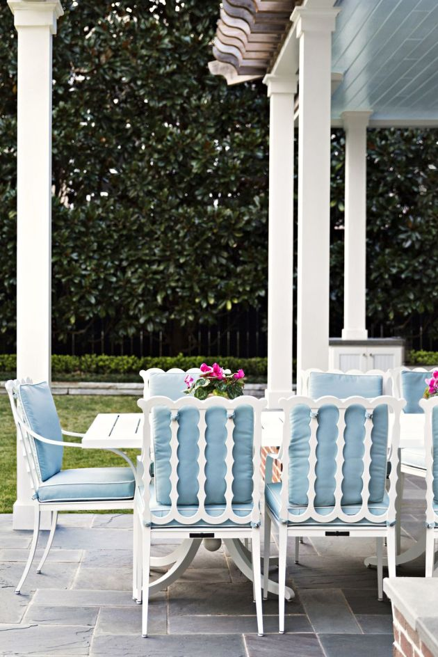 Backyard Patio Design Ideas With Two Square Tables And The Graves Chairs From McKinnon