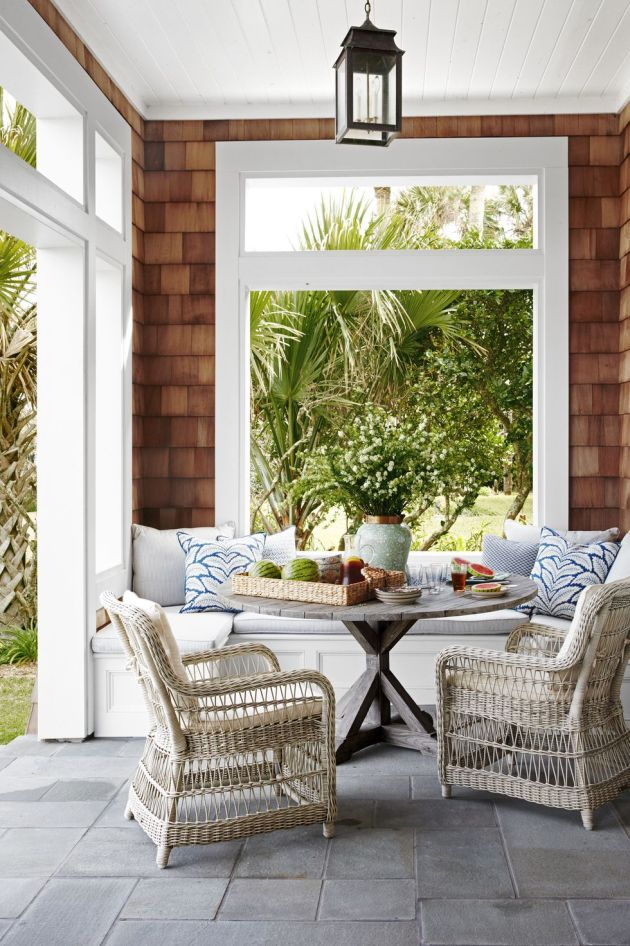 Backyard Patio Design Ideas With Wicker Armchairs And Teak Table From Kingsley Bate
