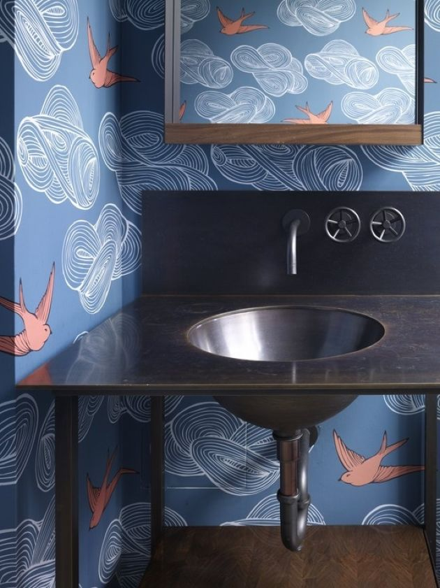 Bathroom Done With Blue Wallpaper And Coral Birds