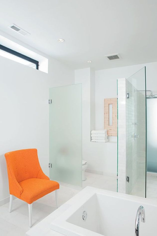 Bathroom With Orange Chair