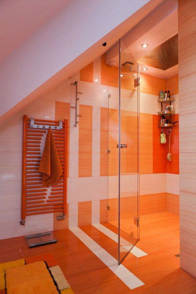 Bathroom With Orange Tiles