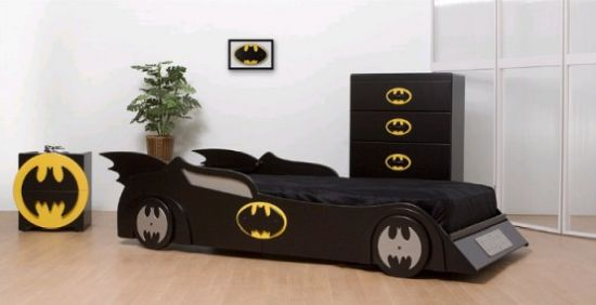 Batman-Inspired Room With A Batmobile Bed Plus A Bat Dresser And A Bat Cabinet