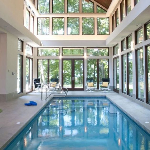Beautiful Indoor Pool With A Marble Deck