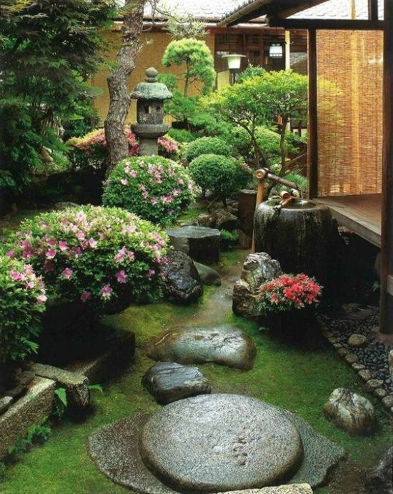 Beautiful Japanese Garden With Grass Plus Rocks And Blooms