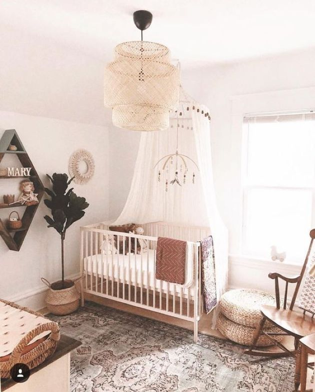 Boho Nursery With A Statement Wicker Lamp And Printed Rug