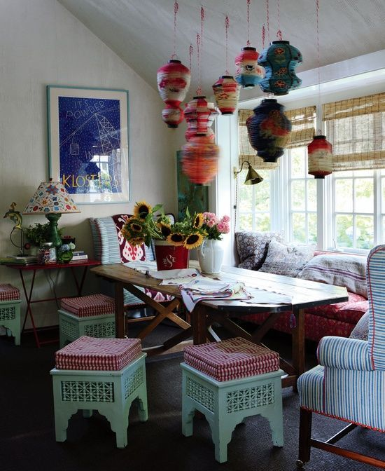 Boho Rustic Dining Room With Bright Yarn Lamps