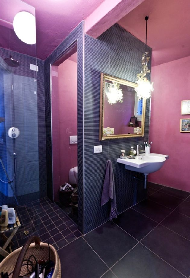 Bold Mauve And Purple Bathroom With Various Types Of Tiles